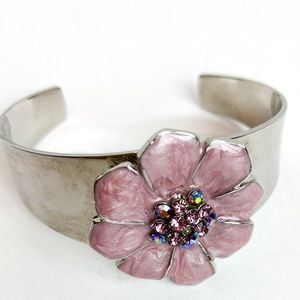 Bracelet | Silver Cuff with Painted Pink Pansy
